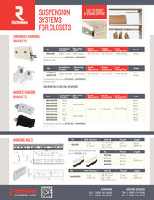 Suspension Systems for Closets Selling sheet