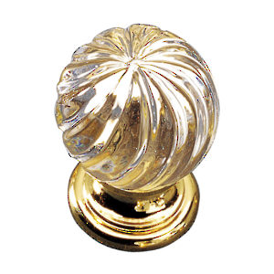 Traditional Crystal and Brass Knob - 9912