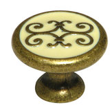 Art Deco Collection Brass & Enamel Knob - 341