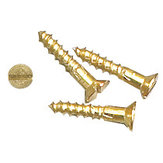Decorative Wood Screw, Slotted Flat Head, Regular Thread, Regular Wood Point