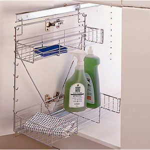 Sliding Chrome Wire Basket System for Base Cabinets