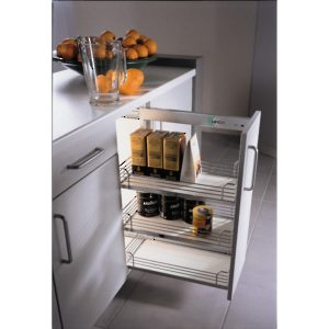 Comfort I Chrome Gray Basket Sliding System for Base Cabinets