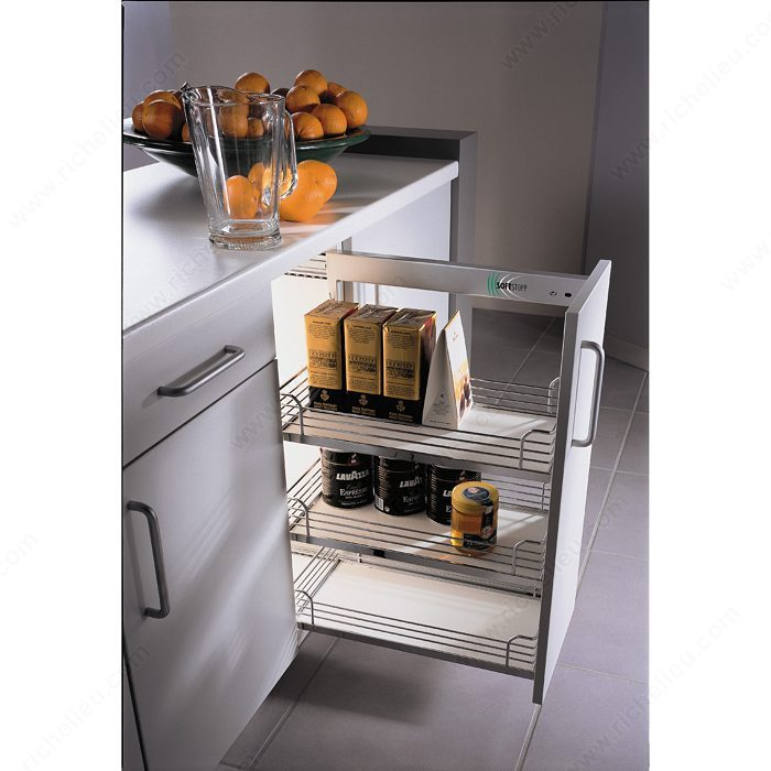 Awesome Chrome And Gray Basket Sliding System For Base Cabinets
