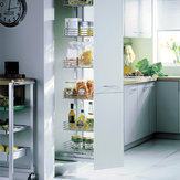 Sliding Chrome Wire Basket System for Pantry Cabinets