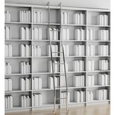 Steel Rolling Ladder Set in Polished Chrome, Adjustable Height
