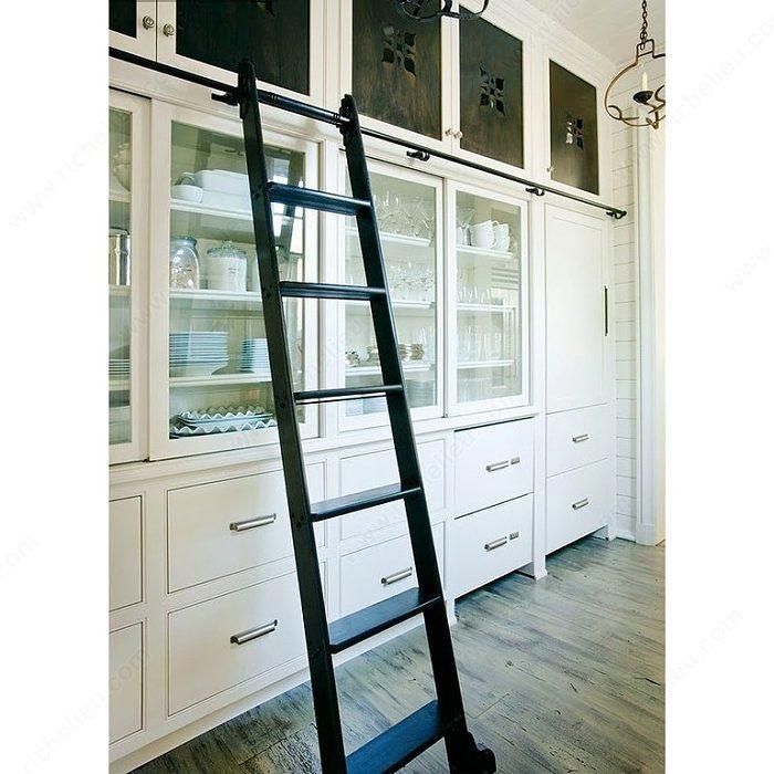 Kit de herraje negro satinado para escalera corrediza de - Escaleras para bibliotecas ...