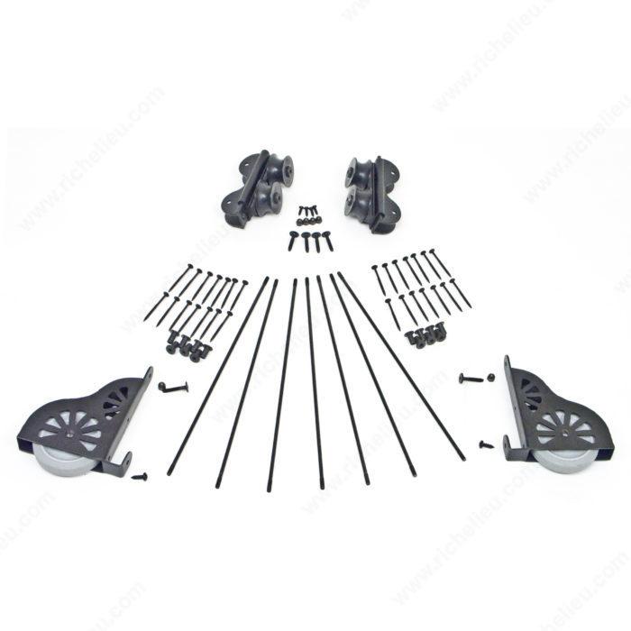 Black Satin Hardware Kit For 7 Step Wood Rolling Ladder