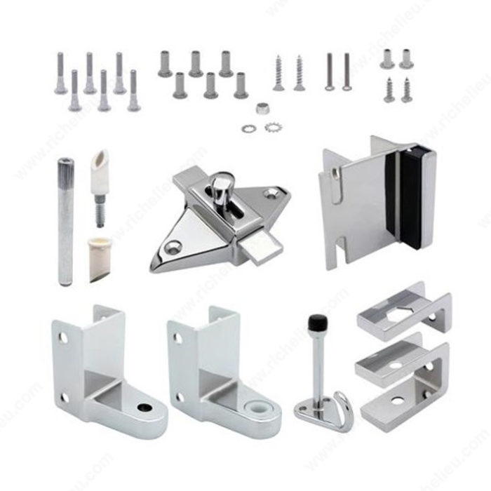 Door hardware kits richelieu hardware for Bathroom divider hardware