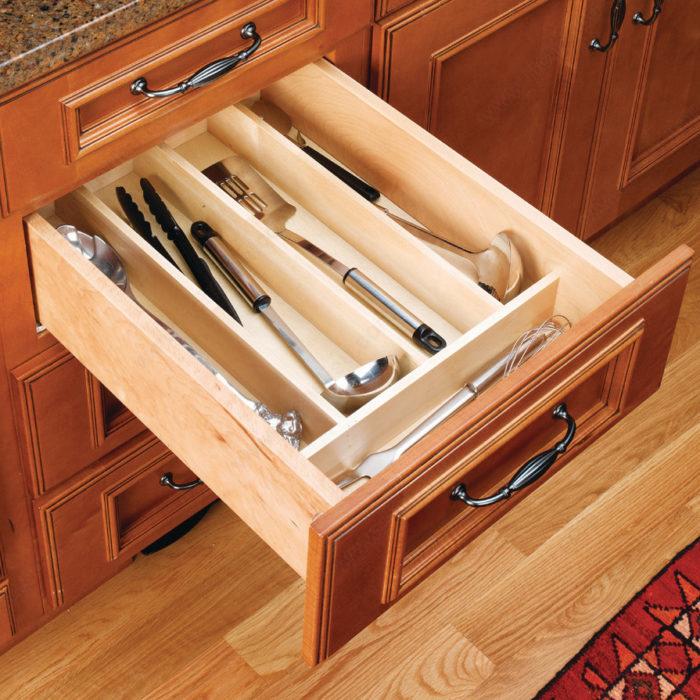 Rev A Shelf Wood Kitchen Utensils Divider To Insert In A Drawer Richelieu Hardware