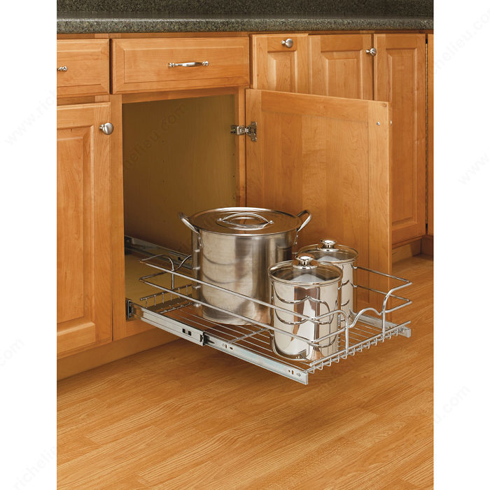 kitchen cabinet mount single pull out basket in chrome wire richelieu hardware 2635