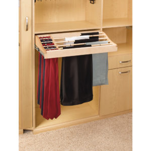 Sliding Pant and Tie Rack in Wood