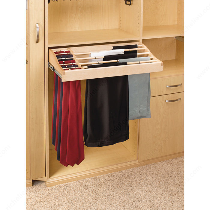 Best Tie Racks For Closets: Sliding Pant And Tie Rack In Wood