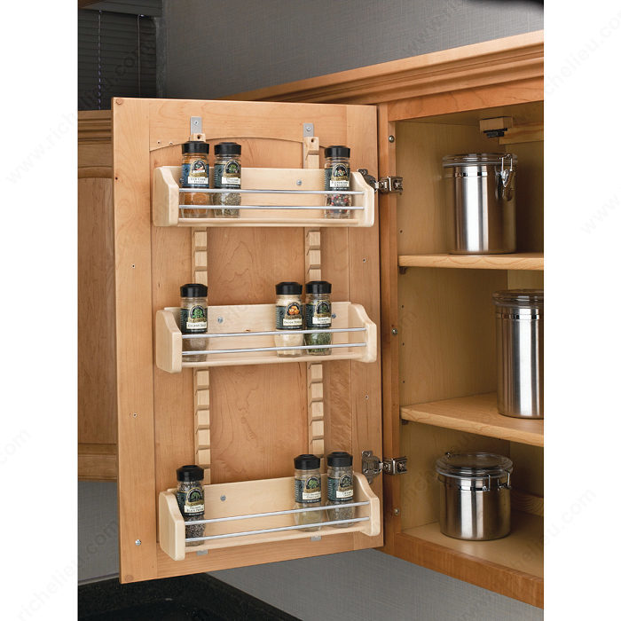 Spice Rack For Kitchen Cabinets: Adjustable Door Mounting Spice Rack