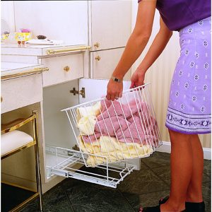 Bottom Mount Pull-Out Wire Hamper