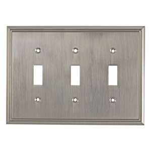Switch Plate 3 Toggle Entries - Contemporary Style
