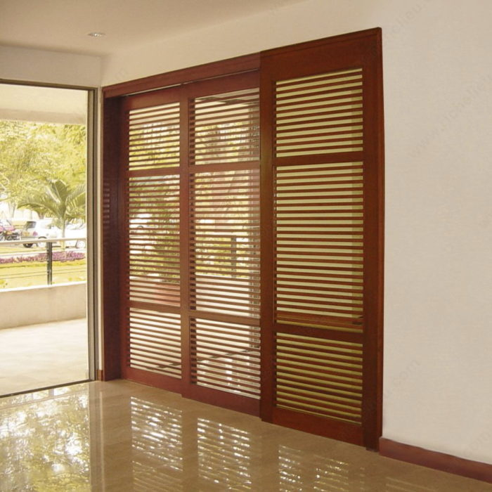 TWIN TELESCOPIC WOOD. Synchronized Telescopic Sliding System for Two Wood Doors - Richelieu Hardware