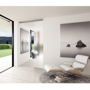 EKU-PORTA 100 GM. Ceiling Mount Sliding Glass Door System