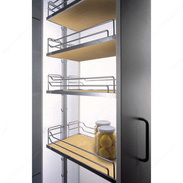 kitchen storage systems dispensa kit with maple and chrome arena baskets 3186