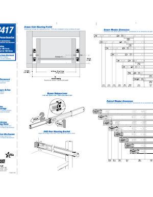 Series 8417 Full Extension Ball Bearing Slide 45 Kg Capacity