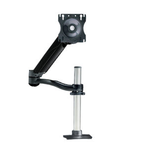Single Arm LCD Flat Panel Desk Mount - Triple Pivot with Height-Adjustable Segment