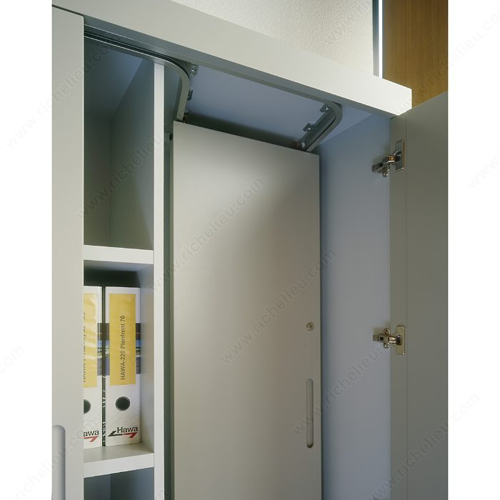 Sliding system for parallel stacking of cabinet front for Stacking doors