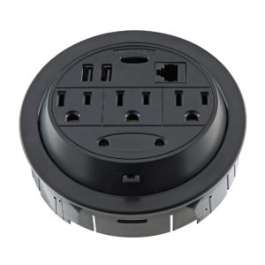 Round Power Station with 3 Outlets & 2 USB Ports