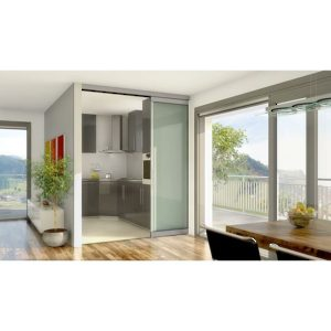 HAWA TELESCOPIC 80/G. Synchronized Telescopic Sliding System for Two Glass Doors