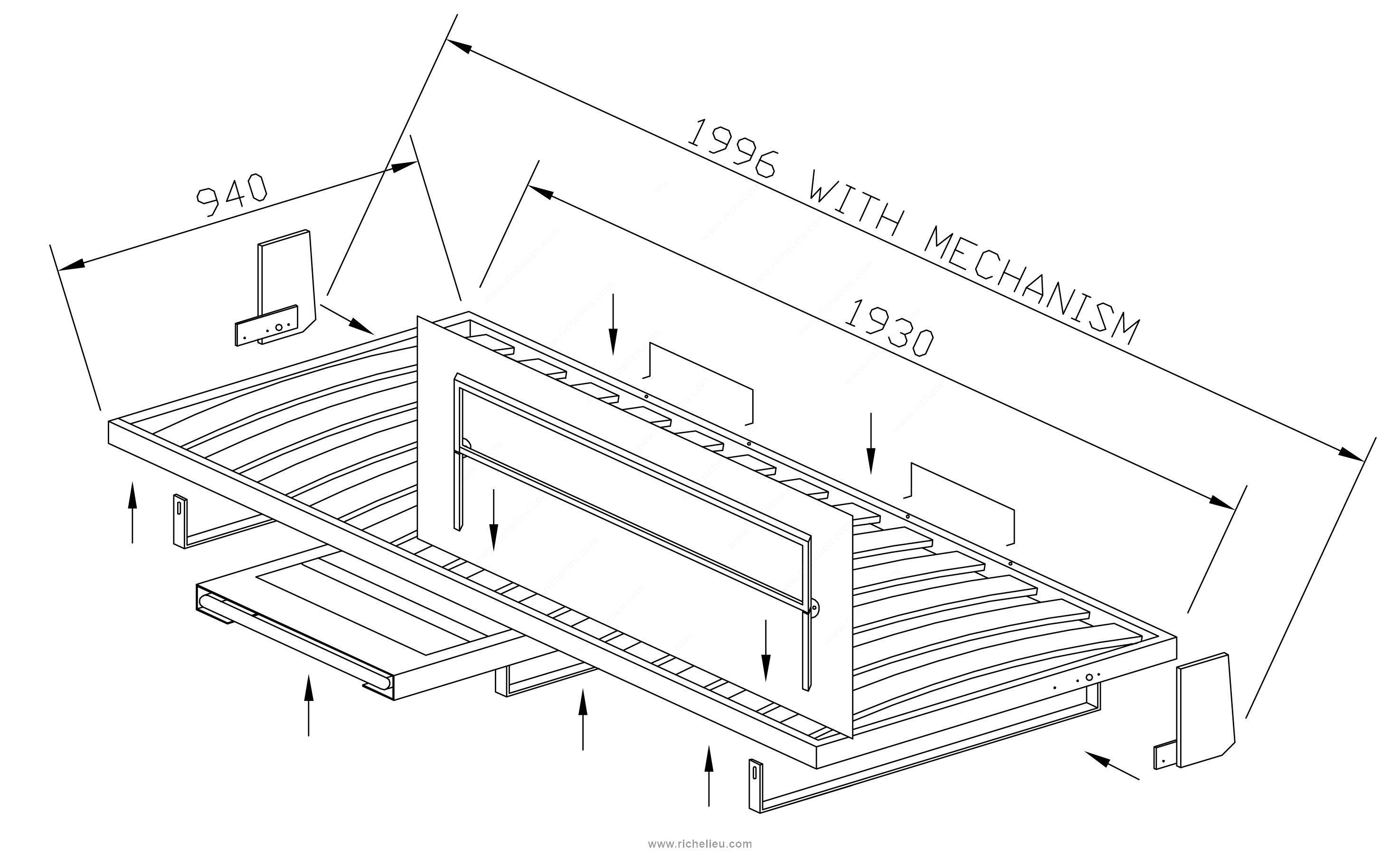 m canisme de lit mural horizontal avec chelle d ploiement manuel section sup rieure. Black Bedroom Furniture Sets. Home Design Ideas