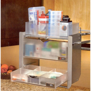 Pull Down Shelving Unit - Polished Chrome