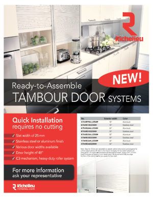 NEW! Ready-to-Assemble TAMBOUR DOOR SYSTEMS