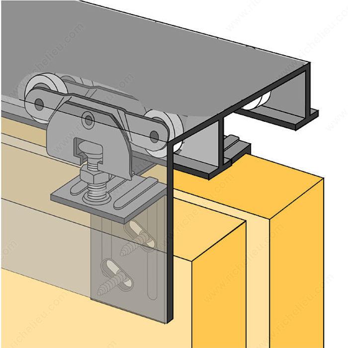 Juego de riel para puerta corrediza bidireccional 1 3 8 for Sistema para puertas corredizas