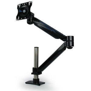 Single Arm LCD Flat Panel Desk Mount - Single Screen, Double Extension, Height Adjustable