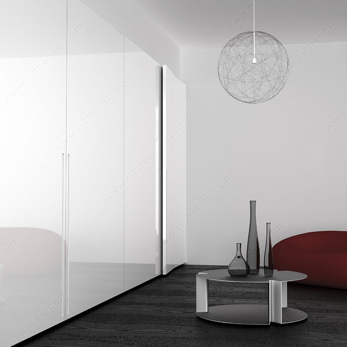Coplanar System For 2 Large Cabinet Doors For Varying Widths
