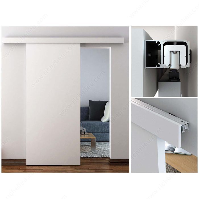 Ensemble traditionnel pour une porte coulissante suspendue for Porte coulissante suspendu