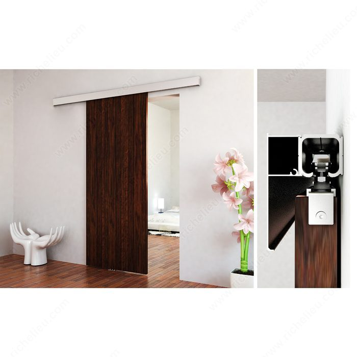 The contemporary kit for wall mount with track richelieu for Porte 18 pouces