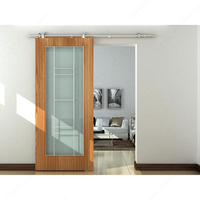 The industrial barn door sliding style kit with 2 0 m for Interior sliding door track system
