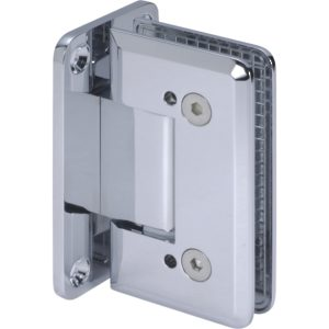 90° Glass-to-Wall Adjustable Hinge with Full Back Plate - Beveled Heavy Duty Series
