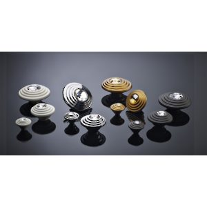 Contemporary Art Deco Knobs Embedded with Swarovski Crystal - 2427