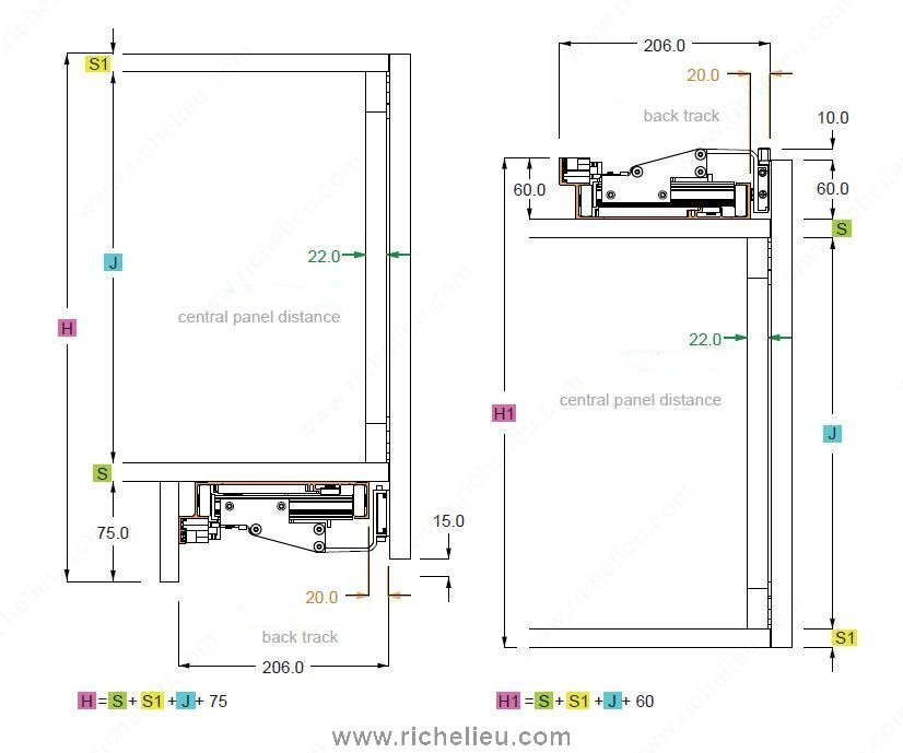 A fil 2 coplanar system for 2 wide cabinet doors for Bathroom cabinets 200mm wide