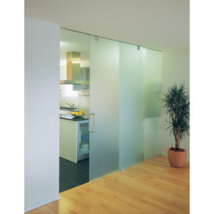 HAWA JUNIOR 80 GP. Top Hung Sliding System for Glass Doors with Fixed Glass