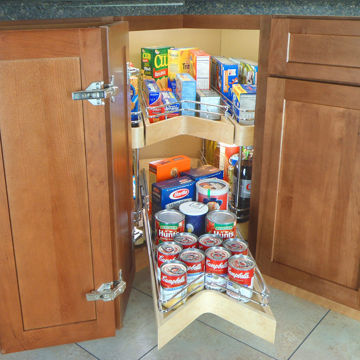Corner Pantry Shelves: System With Two Swiveling Shelves And Drawers