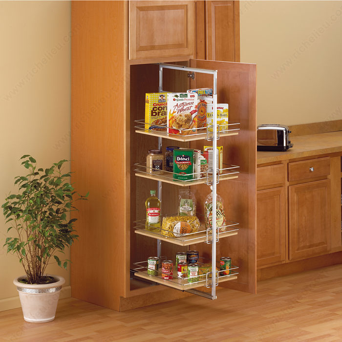 kitchen cabinet storage accessories roll out pantry center mount richelieu hardware 5807