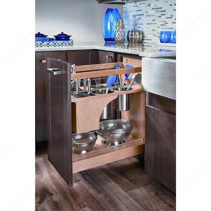 Base pull out with blumotion utensil bins and knife block base cabinet