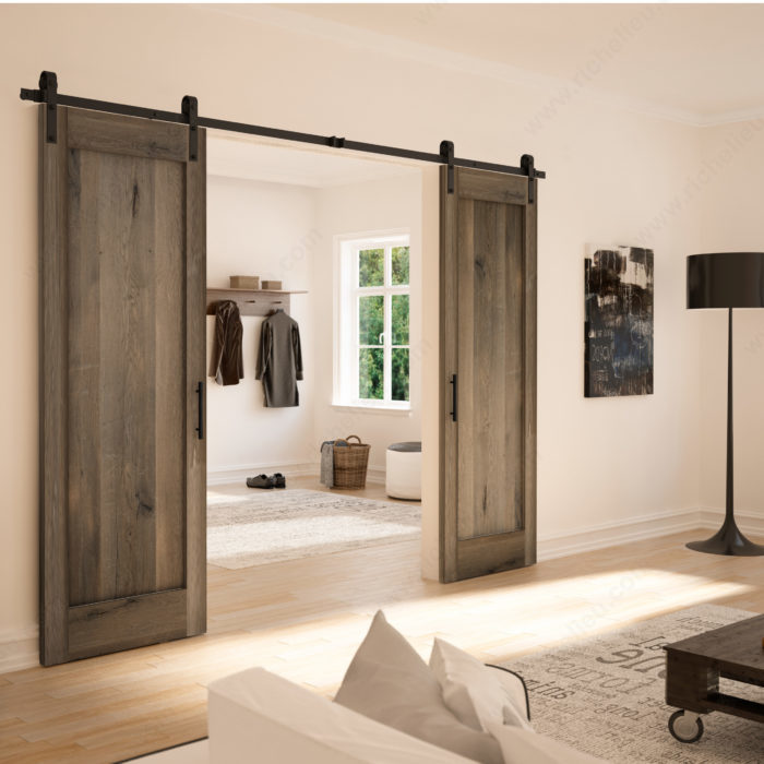 ensemble rustique type porte de grange pour une porte en. Black Bedroom Furniture Sets. Home Design Ideas
