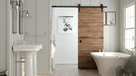 Rustic barn door hardware for interior sliding doors richelieu hardware - Garde robe avec porte coulissante ...