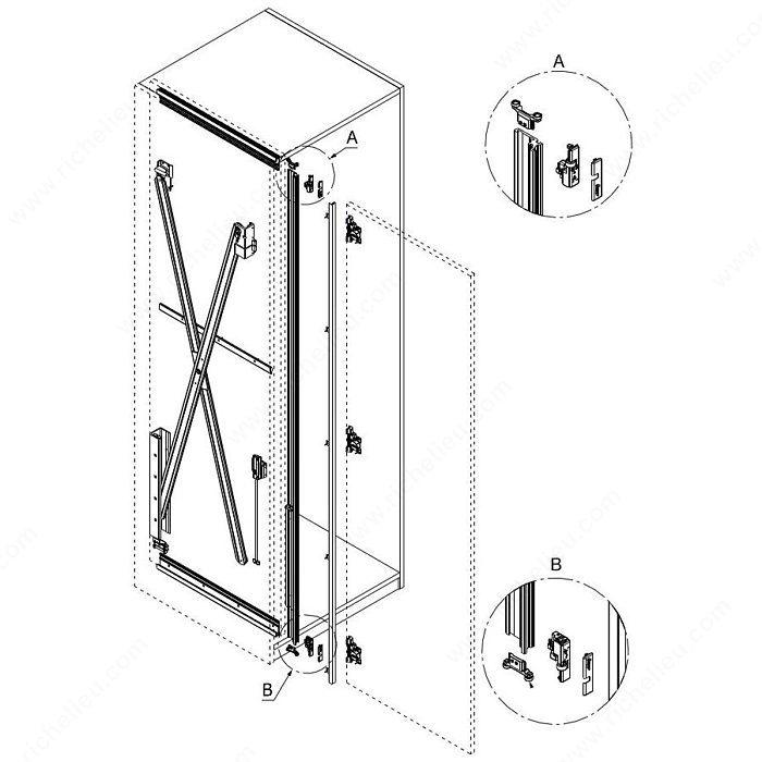 Quincaillerie pour une porte pivotante escamotable for Mecanisme porte pivotante