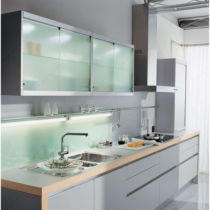 Glass Kitchen Cabinet Doors Only: EKU-Clipo 16 GPK IS By-Pass Sliding System For 2 Glass