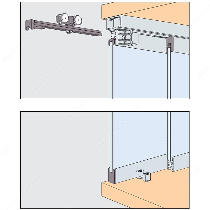 16 GPPK IS By Pass Sliding System For 2 Glass Cabinet Doors Inset 5