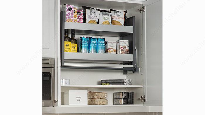 syst me d 39 tag re escamotable pour armoire du haut. Black Bedroom Furniture Sets. Home Design Ideas