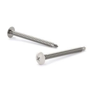 Metal Screw, White Truss Head, Phillips Drive, Self-Tapping Thread, Self-Drilling Point